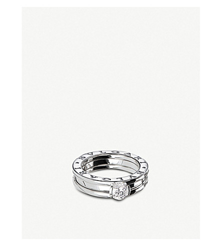 bvlgari bzero1 18ct whitegold and diamond solitaire ring