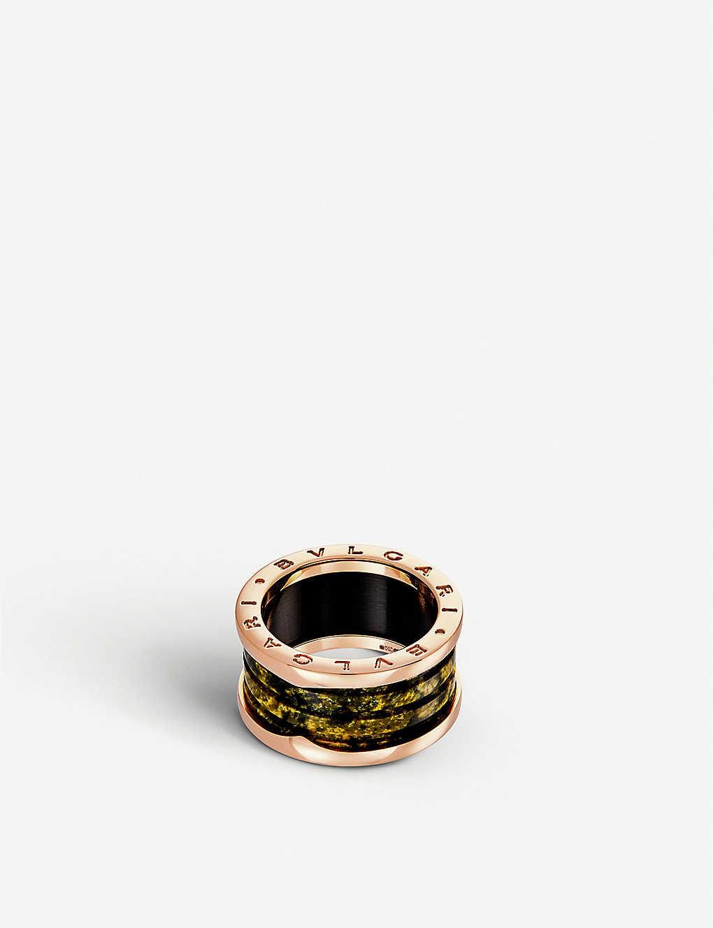 bvlgari bzero1 fourband 18kt pinkgold and green marble ring