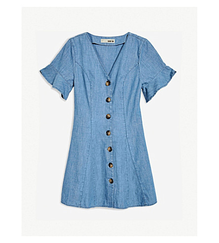 Ruffled Denim Dress by Topshop
