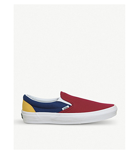 Classic Colour Block Canvas Slip On Trainers by Vans
