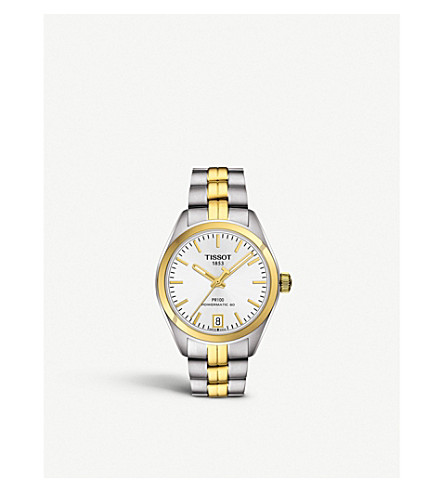 TISSOT - T1012072203100 PR 100 Powermatic stainless steel yellow ... 23b00a299bfb