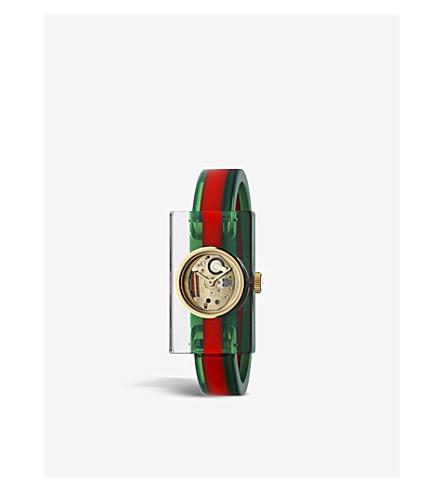 252d37fecaa ... GUCCI YA143501 Plexiglas bangle watch (Gold. PreviousNext
