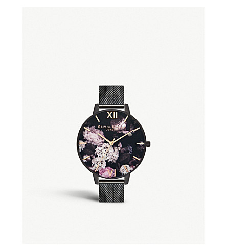 Ob16 Ad35 Signature Florals Black Stainless Steel Quartz Watch by Olivia Burton