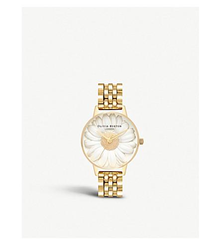 Ob16 Fs100 3 D Daisy Gold Plated Bracelet Watch by Olivia Burton