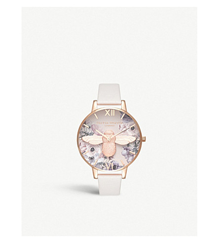 Ob16 Pp41 3 D Bee Watercolour Florals Rose Gold Plated Watch by Olivia Burton