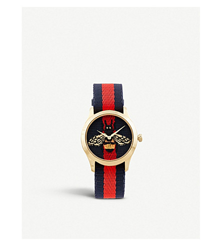 Ya1264061 G Timeless Yellow Gold Plated Stainless Steel And Canvas Watch by Gucci