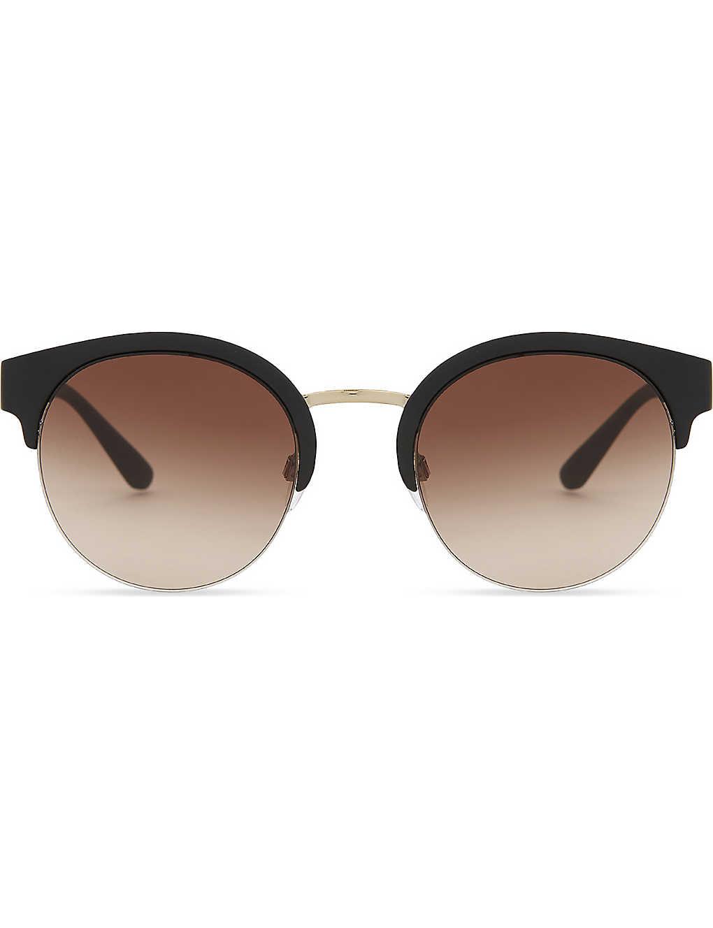 0e01e556b6 BURBERRY - Be4241 check-detail round half-frame sunglasses ...