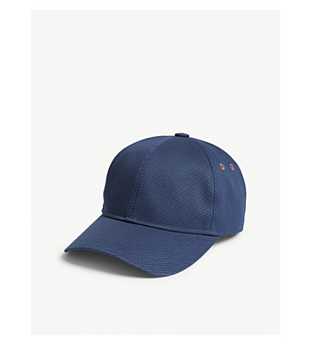 Jasz Baseball Cap in Suede - Navy Ted Baker