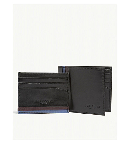 9f9887ec2 ... TED BAKER Leather wallet and card holder gift set (Black. PreviousNext