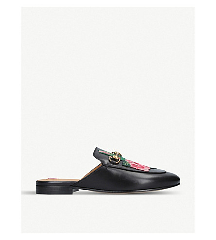 Princetown Floral Embroidered Leather Slippers by Gucci