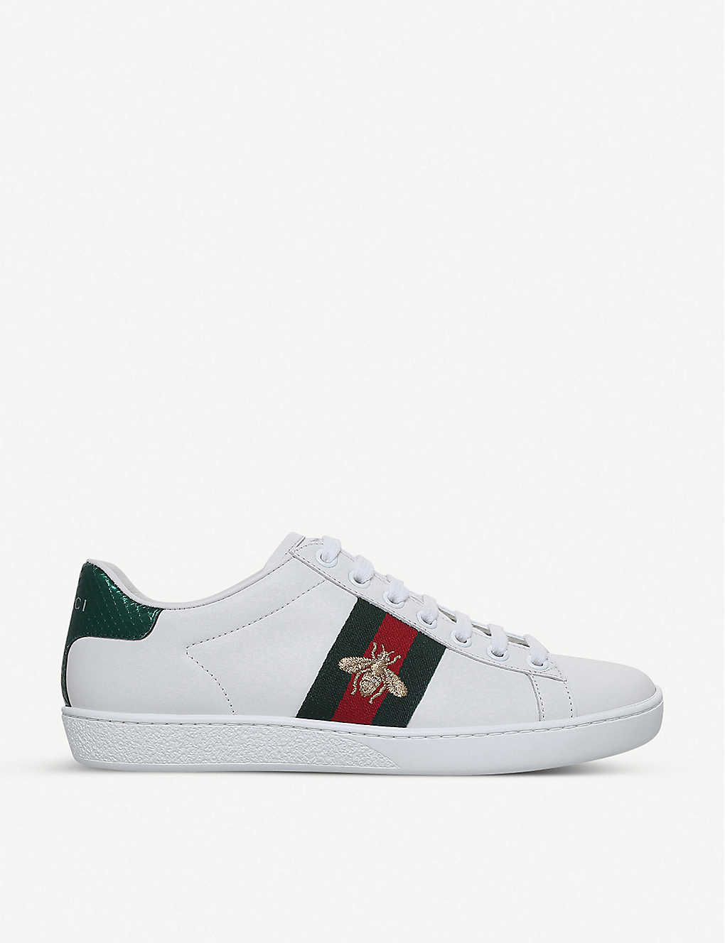 GUCCI - Ladies New Ace bee-embroidered leather trainers  a215d655e5