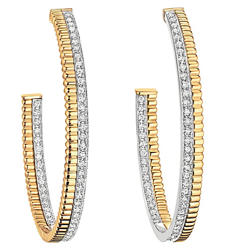 Boucheron Quatre Radiant Edition 18-karat Yellow And White Gold Diamond Hoop Earrings cHJhDTeCN