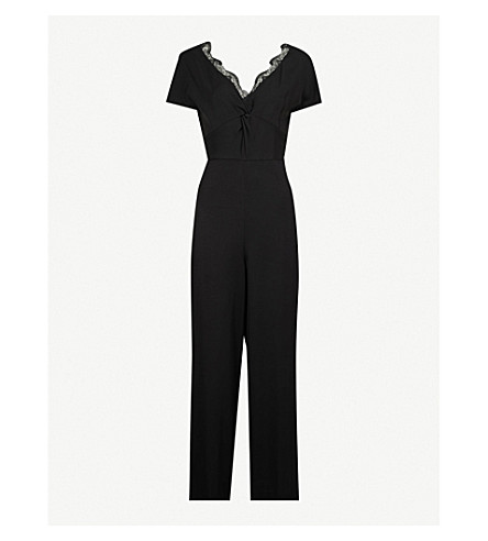 Lace Detail Cropped Crepe Jumpsuit by Sandro