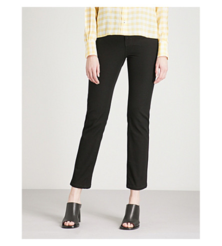 Slim Fit Straight Cropped Stretch Woven Trousers by Joseph