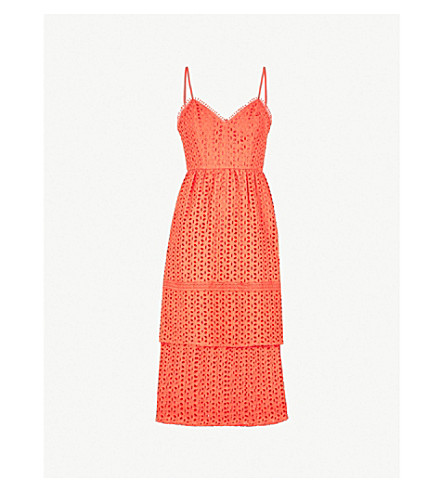 Tiered Cotton Broderie Anglaise Midi Dress by Warehouse
