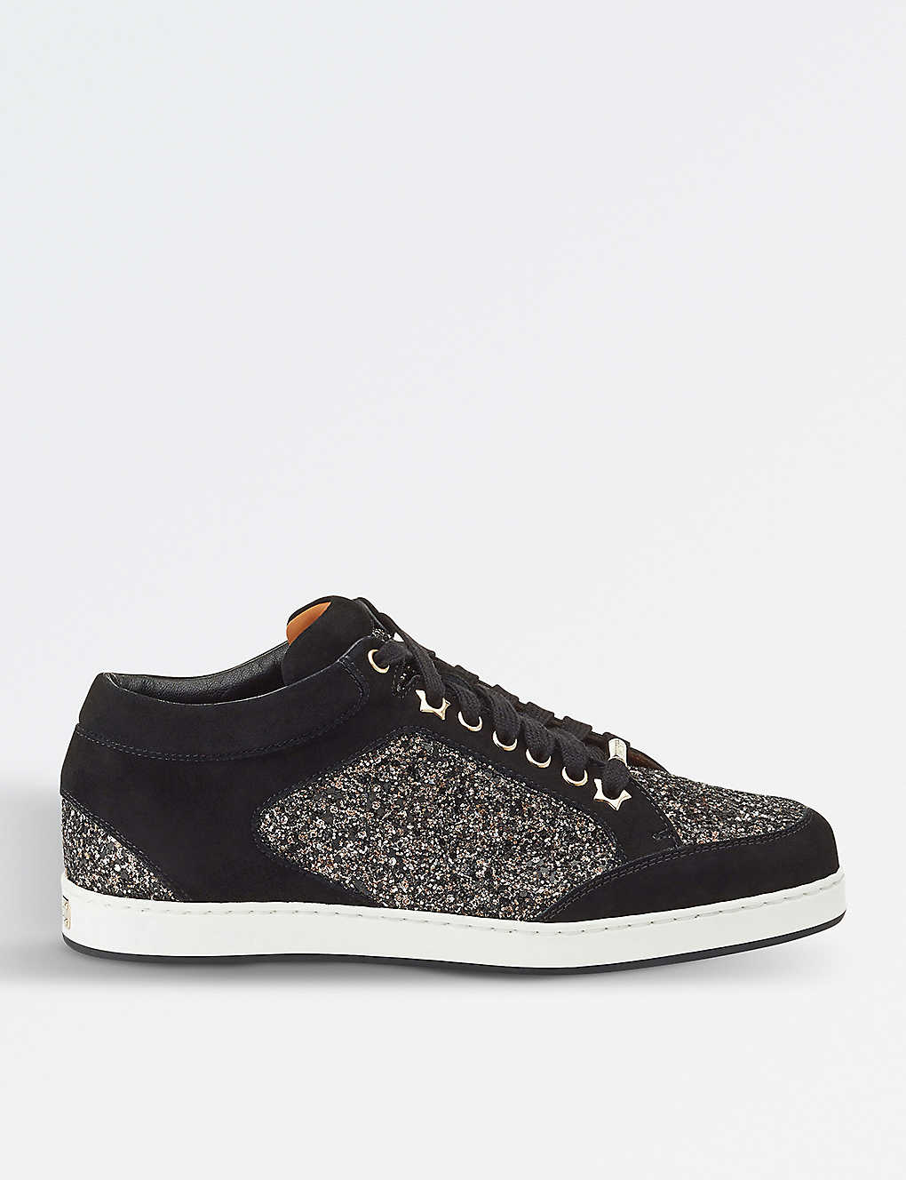 Sneaker MIAMI suede textile Glitter Logo black bronze Jimmy Choo London