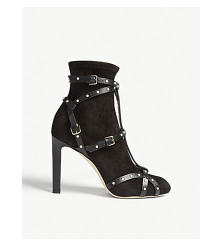 Brianna 100 Leather And Suede Boots by Jimmy Choo