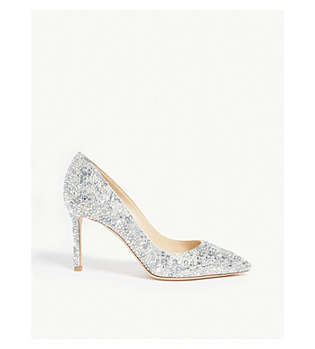 5e9c46aa5f2 ... JIMMY CHOO Romy 85 crystal and suede courts (White crystal+mix.  PreviousNext