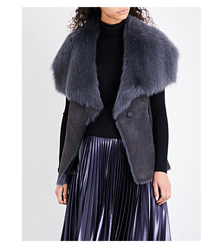 Waterfall Lapel Shearling Gilet by Karen Millen