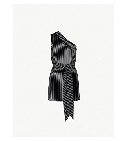Asymmetric Collar Woven Top by Karen Millen
