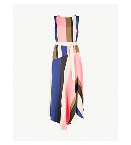 Abstract Block Striped Satin Midi Dress by Karen Millen