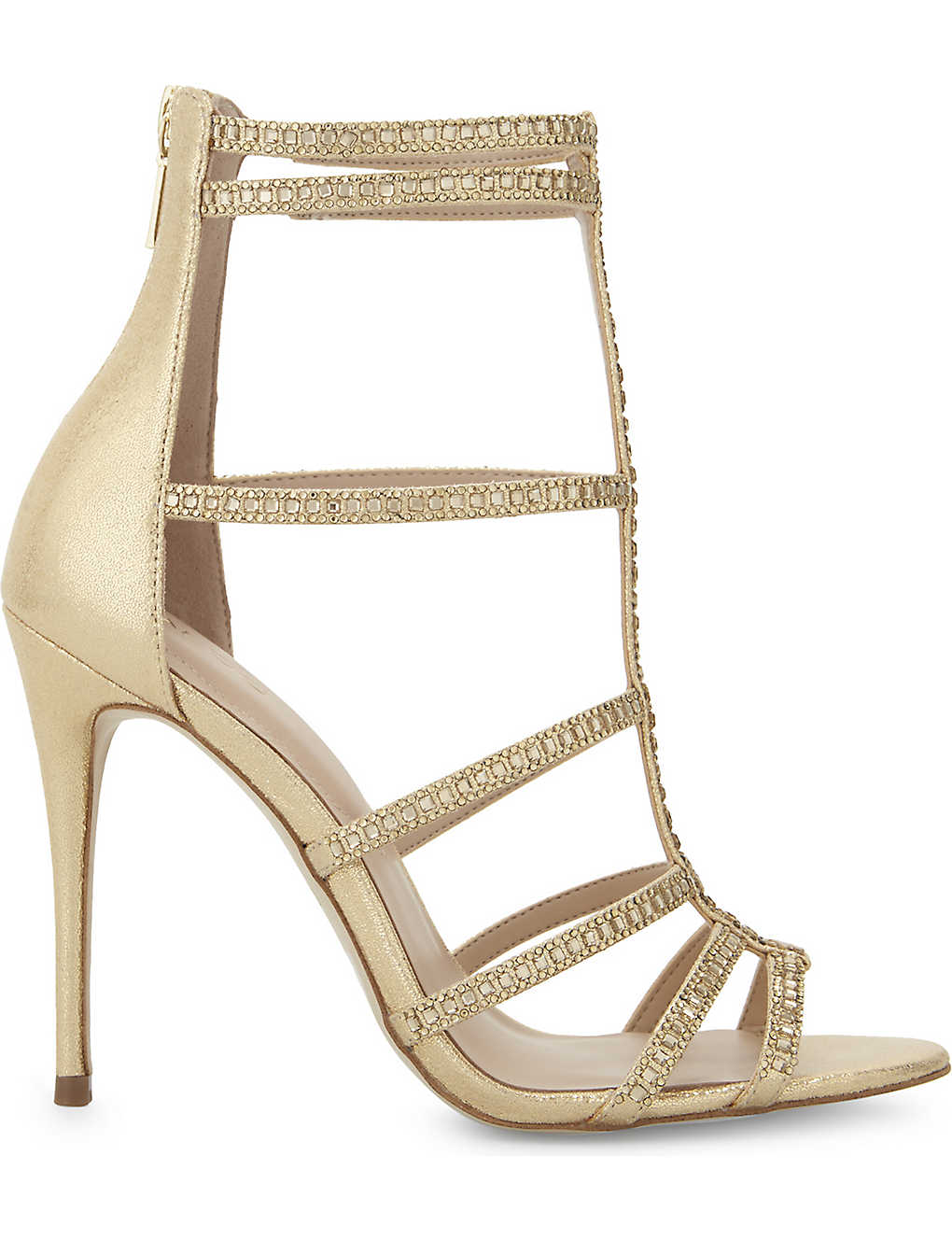 Gold ALDO Mally caged heeled sandals