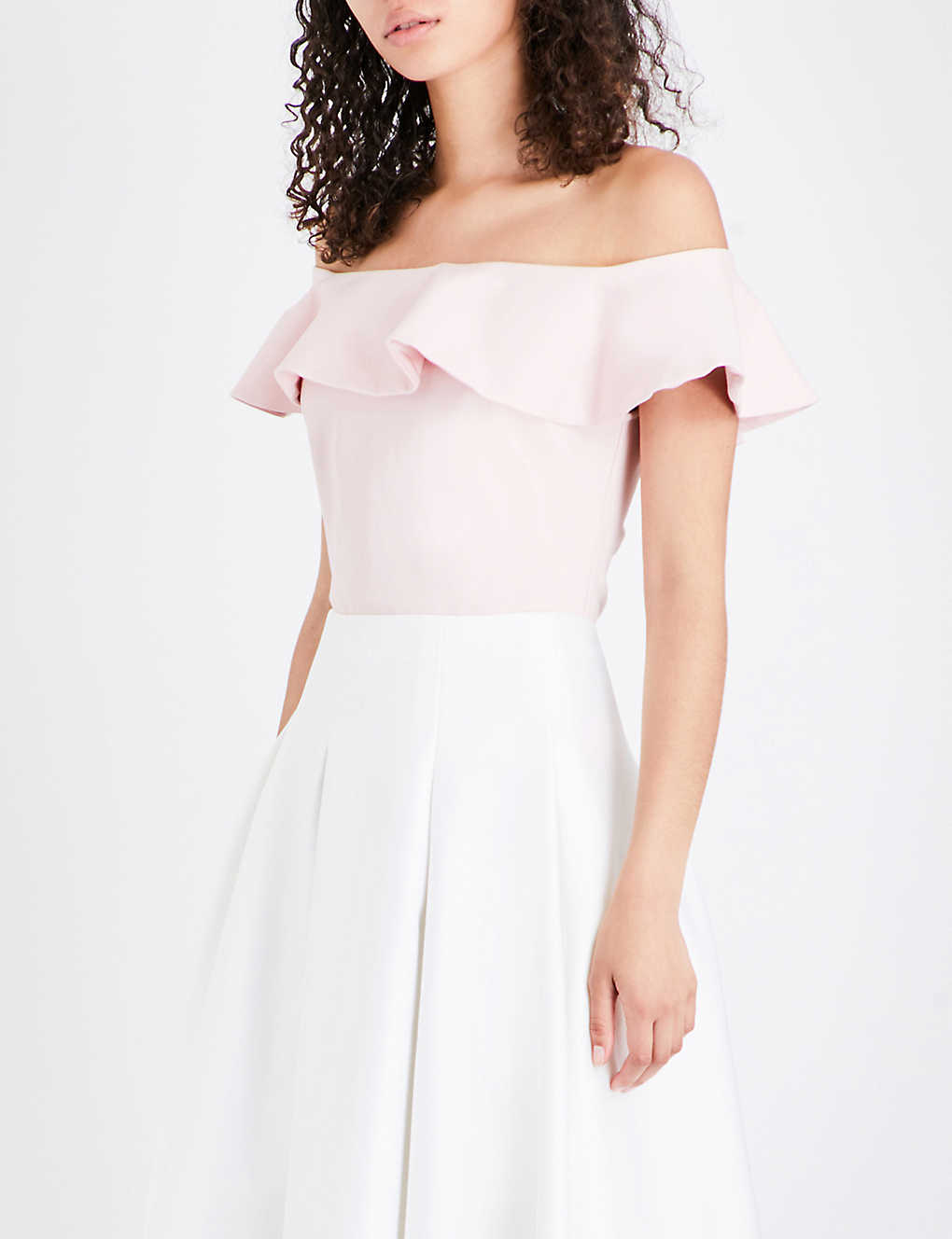 6896d811a7344 TED BAKER - Perui frilled off-the-shoulder jersey top
