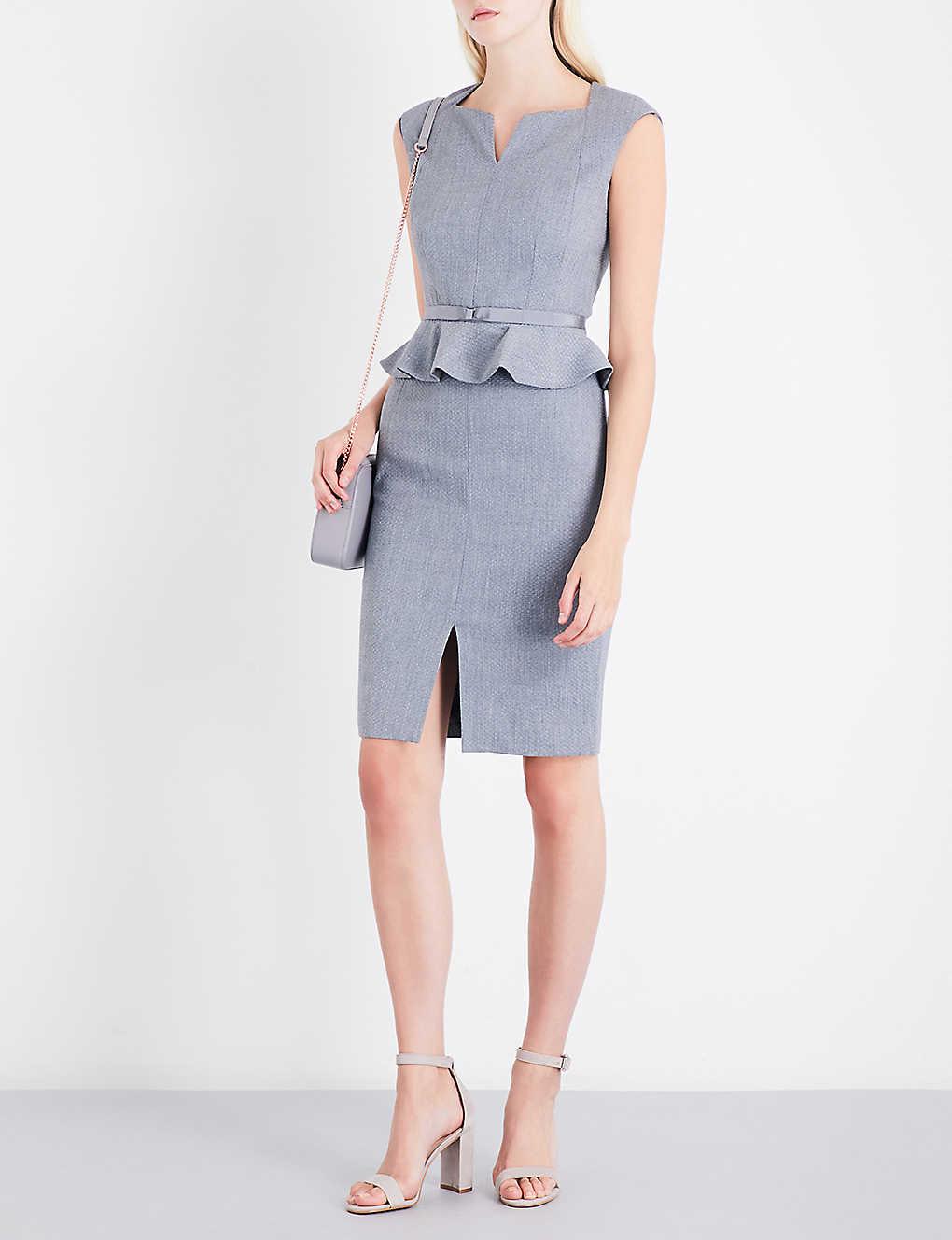 Ted Baker Nadaed Peplum Textured Jacquard Dress Selfridges