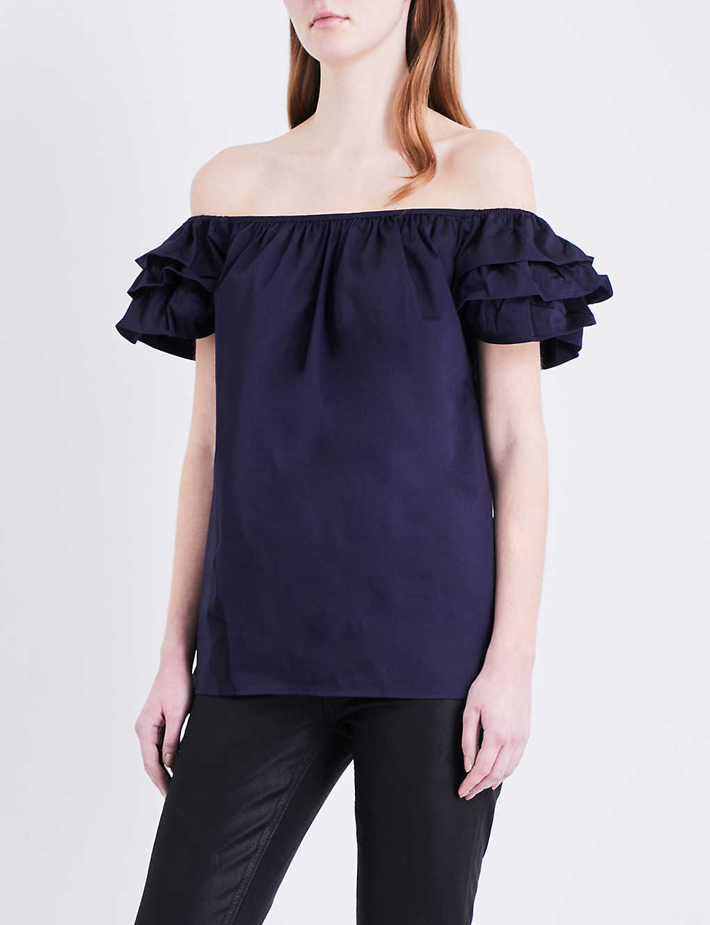 0b031ac14763b TED BAKER - Ruffled off-the-shoulder stretch-cotton top