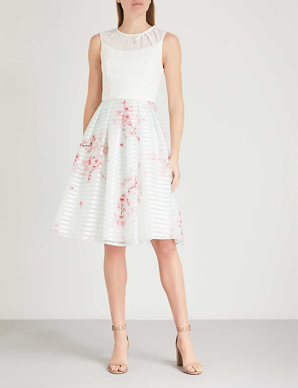 Ted Baker Idola Soft Blossom Print Crepe And Organza Dress