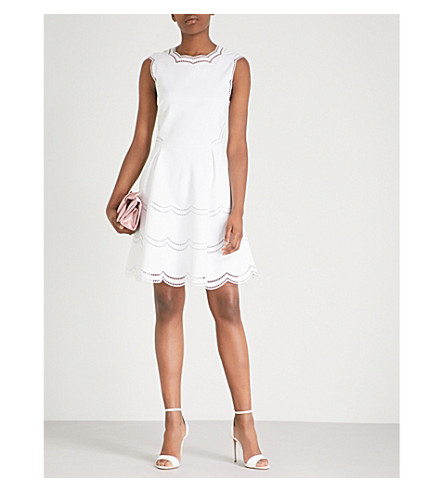 ... TED BAKER Cammey scalloped-trim stretch-jersey dress (Ecru. PreviousNext