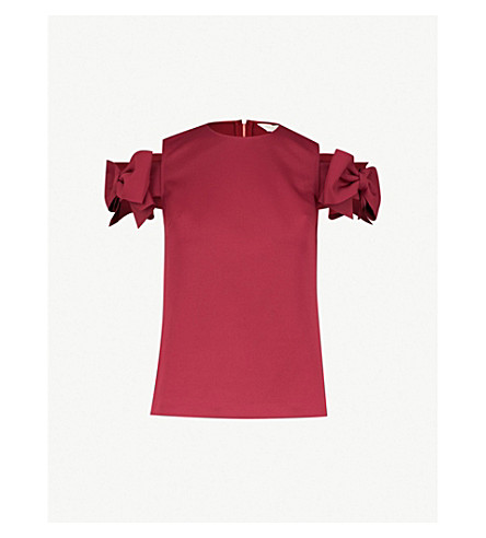 4ef305d3732f1 ... TED BAKER Medoll cold-shoulder bow-embellished jersey top (Maroon.  PreviousNext