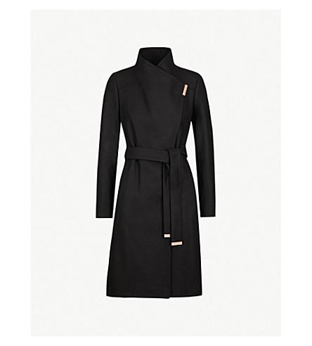 7ab1b64dc57 ... TED BAKER Sandra wool-blend wrap coat (Black. PreviousNext