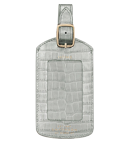 Mara Crocodile Embossed Calf Leather Luggage Tag by Smythson