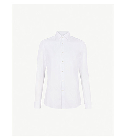 Farrow Hopsack Weave Slim Fit Cotton Shirt by Reiss