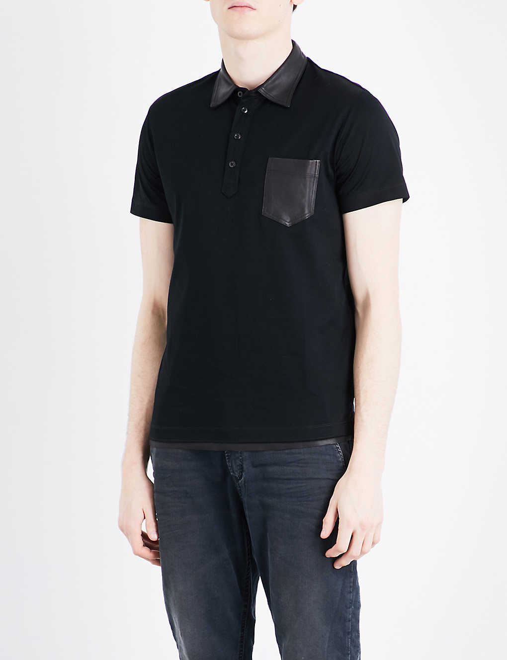 Diesel T Rice Cotton And Leather Polo Shirt Selfridges
