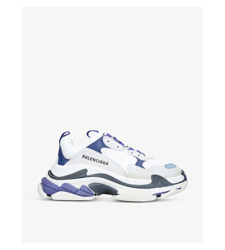 Triple S Leather And Mesh Sneakers by Balenciaga