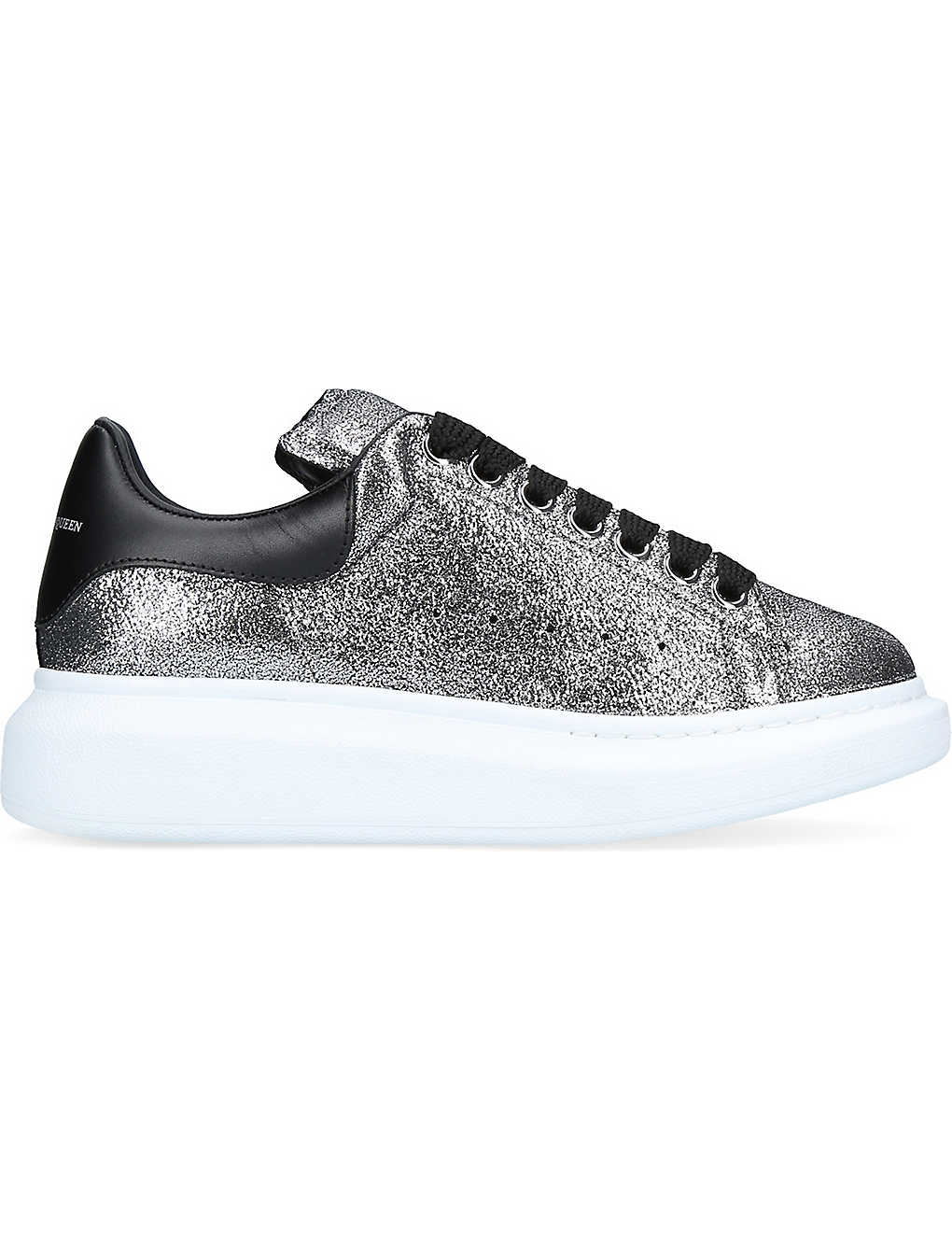 Discount Alexander Mcqueen Silver Com Oversized Goatskin Trainers for Women Online Sale