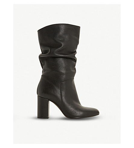 c98572b09901 ... DUNE Rafaellie ruched leather boots (Black-leather. PreviousNext