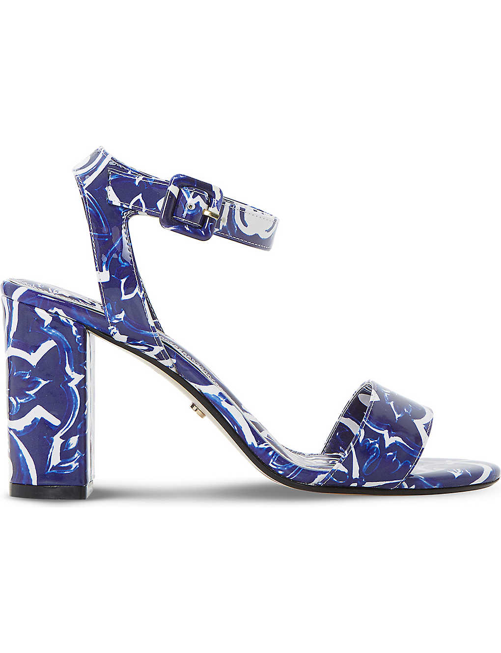 Blue synthetic patent DUNE Myko tile print sandals Sale Shop