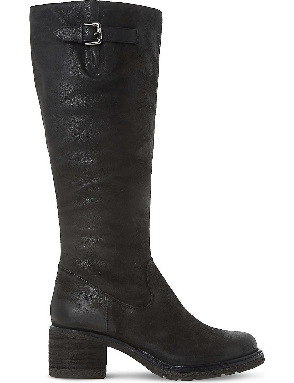 Discount Dune Black-Leather Tedmund Knee-High Distressed Leather Boots for Women On Sale