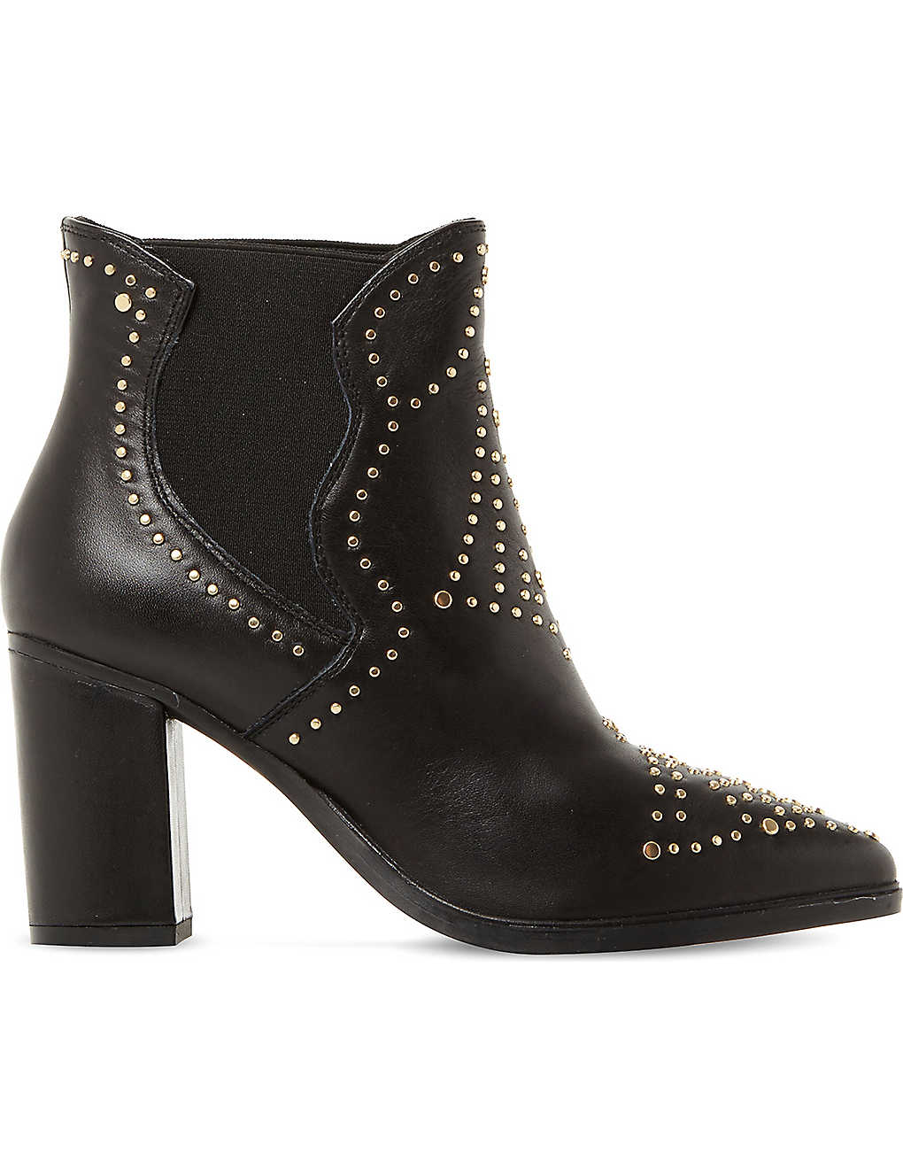 Discount Steve Madden Black-Leather Himmel Sm Studded Leather Ankle Boots for Women On Sale