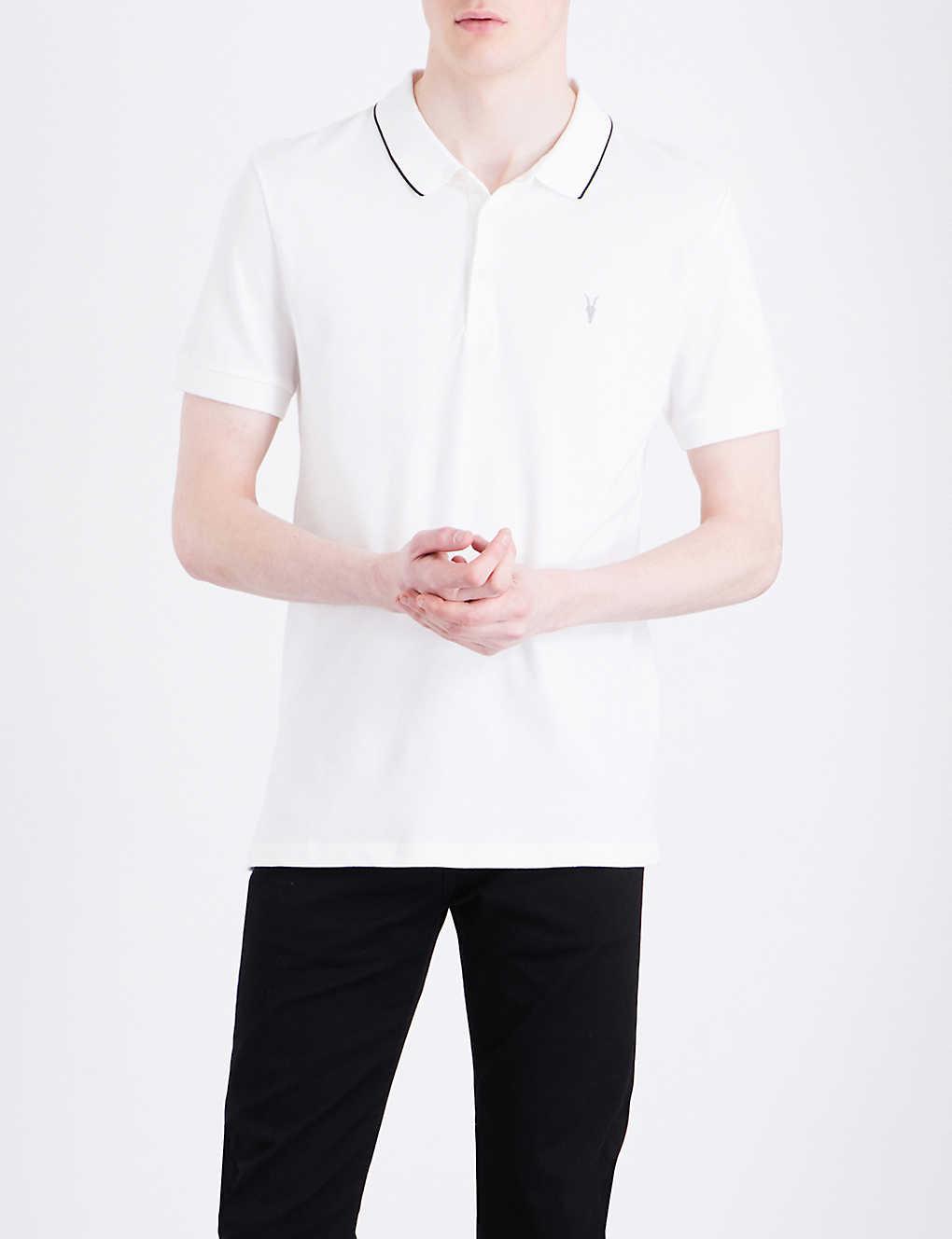 Allsaints Houston Cotton Jersey Polo Shirt Selfridges