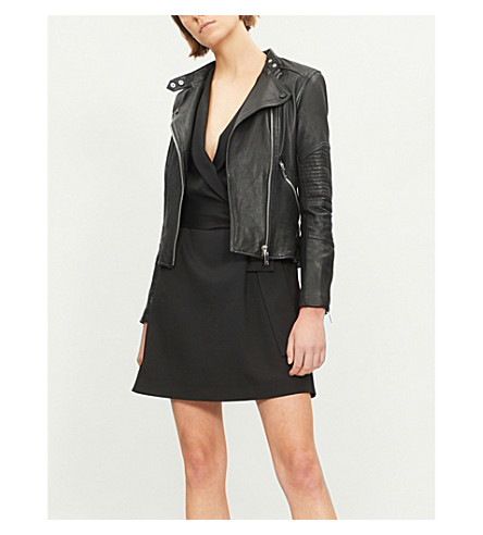Tay Quilted Panel Leather Jacket by Reiss