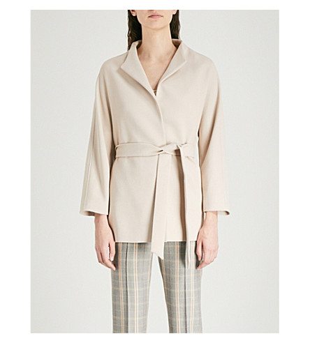 Farrow Belted Crepe Wrap Coat by Reiss