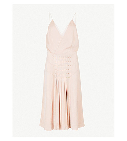 Daria Eyelet Embellished Pleated Satin Dress by Reiss