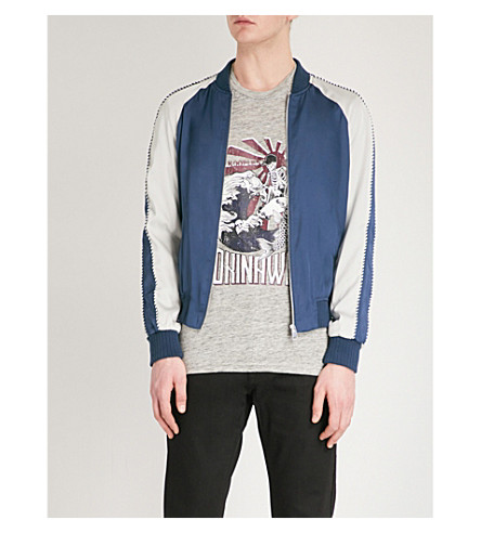 Contrast Sleeve Satin Bomber Jacket by The Kooples