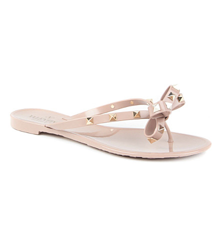 VALENTINO Rockstud rubber sandals (Nude