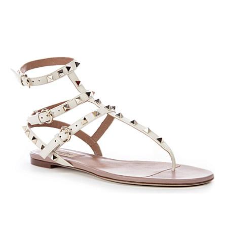 VALENTINO Rockstud gladiator sandals (Champagne