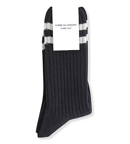 COMME DES GARCONS Striped wool-blend socks (Black